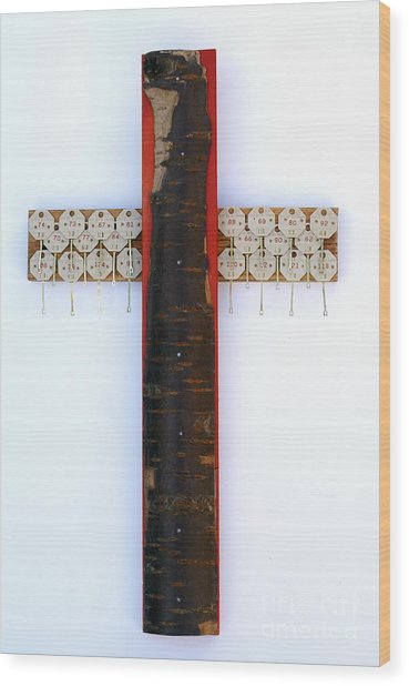 Bark Cross With Key Tags Wood Print