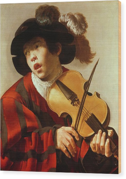Boy Playing Stringed Instrument And Singing Wood Print
