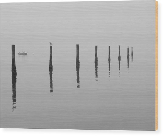 Fog And Reflections Wood Print