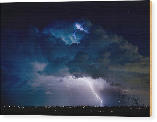 Clouds Of Light Lightning Striking Boulder County Colorado Wood Print by James BO  Insogna