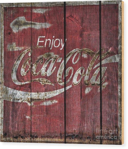 Coca Cola Sign Barn Wood Wood Print