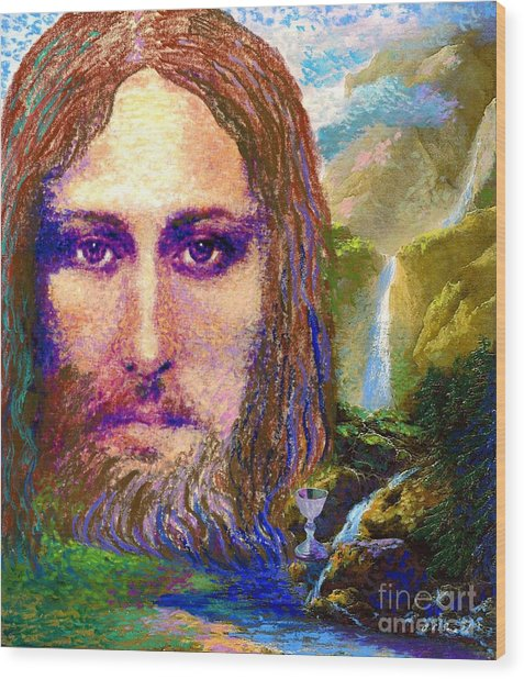 Contemporary Jesus Painting, Chalice Of Life Wood Print
