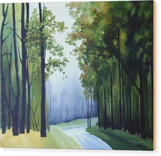 Country Road Wood Print by Carola Ann-Margret Forsberg