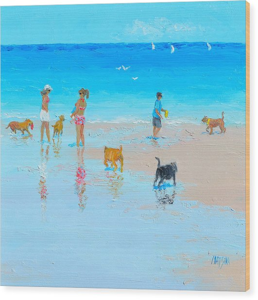 Dog Beach Day Wood Print
