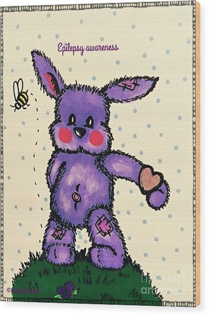 Epilepsy Awareness Bunny Wood Print