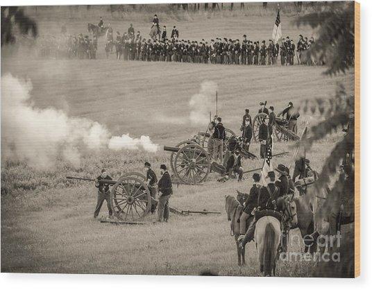 Gettysburg Union Artillery And Infantry 7439s Wood Print