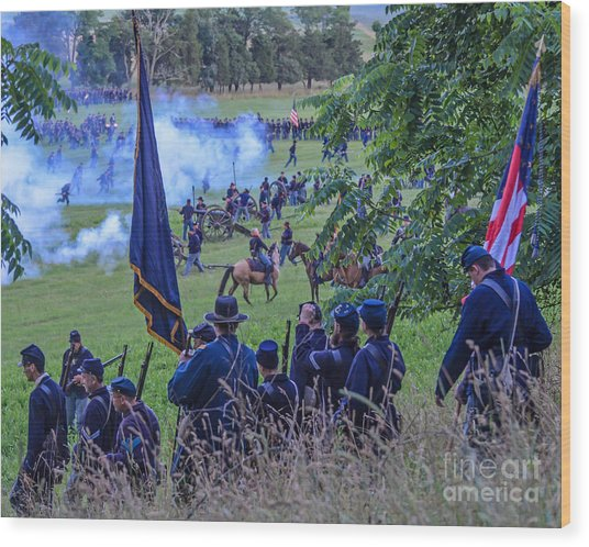 Gettysburg Union Artillery And Infantry 7459c Wood Print