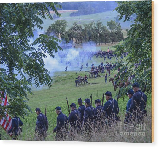 Gettysburg Union Artillery And Infantry 7465c Wood Print