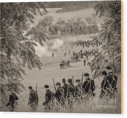 Gettysburg Union Artillery And Infantry 7465s Wood Print