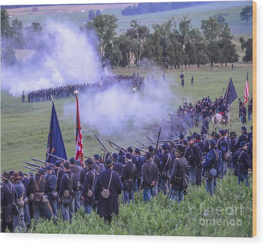 Gettysburg Union Artillery And Infantry 7496c Wood Print