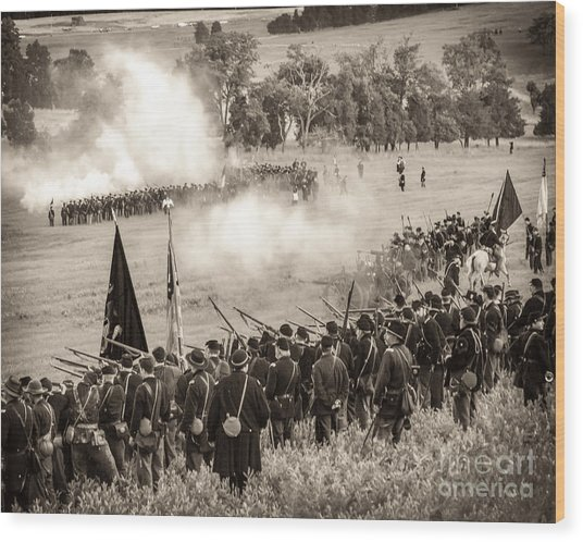Gettysburg Union Artillery And Infantry 7496s Wood Print