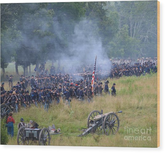 Gettysburg Union Artillery And Infantry 8456c Wood Print