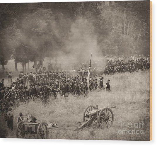 Gettysburg Union Artillery And Infantry 8456s Wood Print