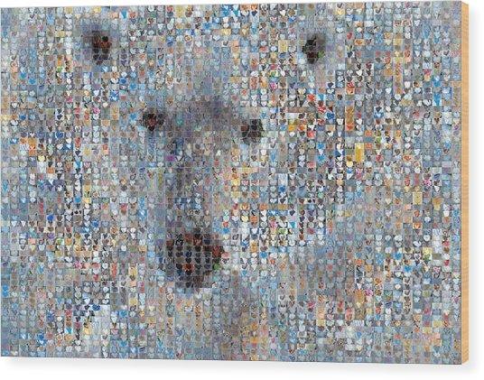 Holiday Hearts Polar Bear Wood Print by Boy Sees Hearts