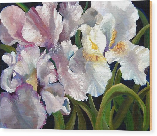 I Love Iris Wood Print by Marcy Silverstein