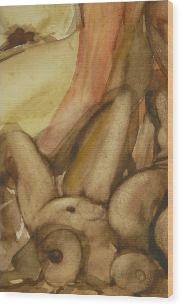 Jessie Nude Laying Down Wood Print by Thierry-guenand   DAUGENN-