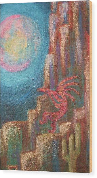 Kokopelli Moon Painting Wood Print by Anne-Elizabeth Whiteway