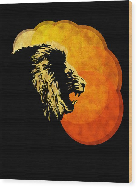 Lion Illustration Print Silhouette Print Night Predator Wood Print