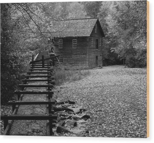 Mingus Mill - Black And White Wood Print