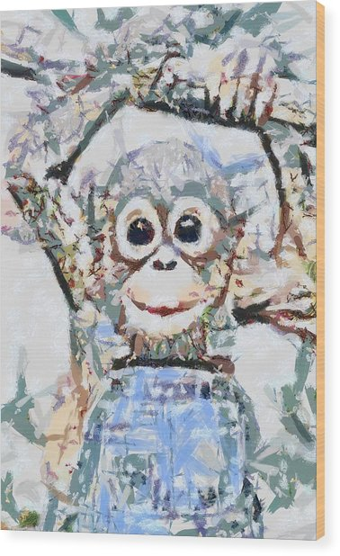 Monkey Rainbow Splattered Fragmented Blue Wood Print
