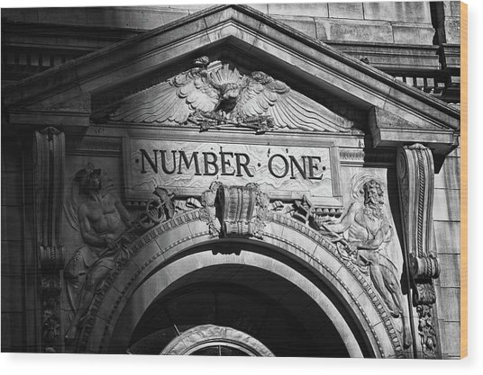 Number One Building In Black And White Wood Print by Val Black Russian Tourchin