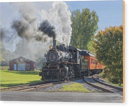 Old Vintage Steam Engine Wood Print