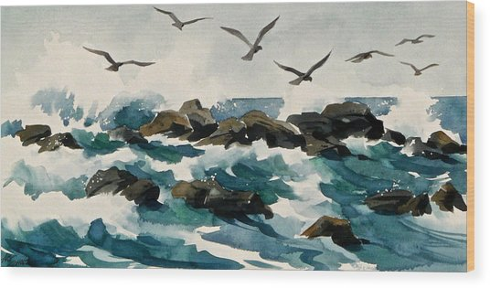 Out To Sea Wood Print by Art Scholz