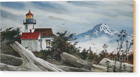 Point Robinson Lighthouse And Mt. Rainier Wood Print