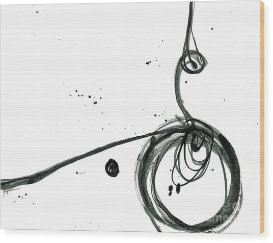 Revolving Life Collection - Modern Abstract Black Ink Artwork Wood Print
