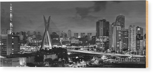 Sao Paulo Iconic Skyline - Cable-stayed Bridge - Ponte Estaiada Wood Print