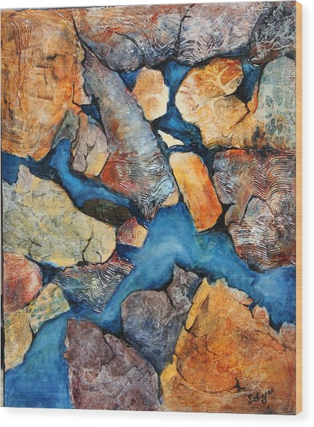 Shoreline Rocks Wood Print
