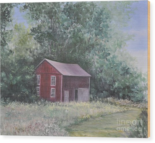 Shortys Shed Wood Print by Penny Neimiller