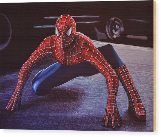 Spiderman 2  Wood Print