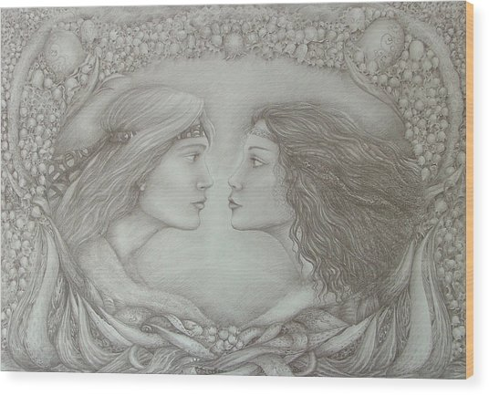 Spring Lovers With Snowdrops Wood Print