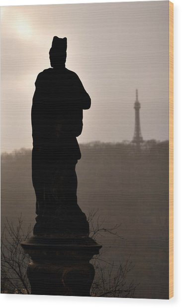 Statue And Petrin Tower Wood Print