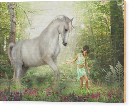 Stella And The Unicorn Wood Print