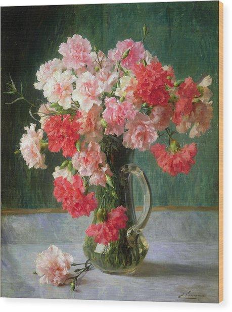 Still Life Of Carnations   Wood Print