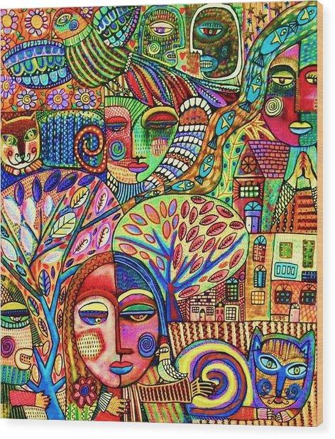 -talavera Harmony Cat Garden Wood Print