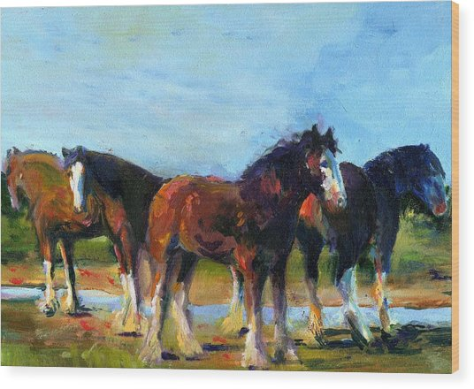 The Four Clydesdales  Wood Print by Kathy Dueker