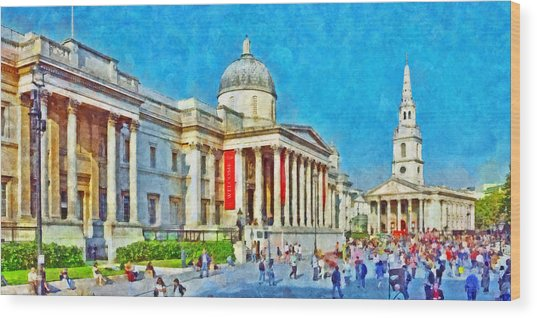 The National Gallery And St Martin In The Fields Church Wood Print