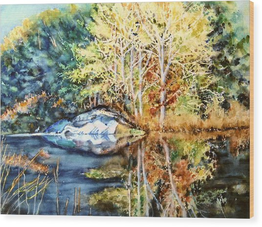 The Tree Across The Pond  Wood Print by June Conte  Pryor