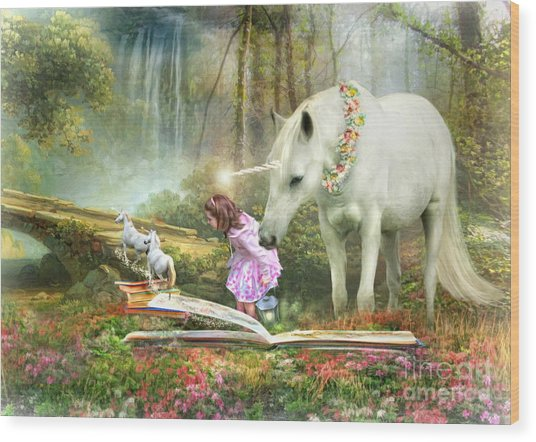 The Unicorn Book Of Magic Wood Print