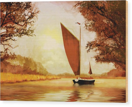 Wood Print featuring the painting  The Wherry Albion by Valerie Anne Kelly