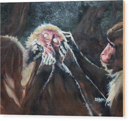 Three Monkeys Wood Print
