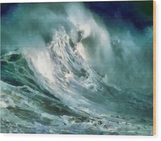 Tsunami - Raging Sea Wood Print by Russ Harris