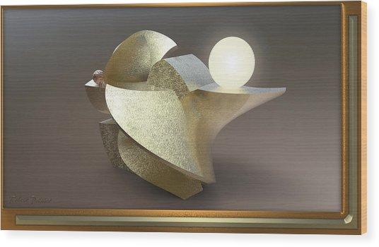' Wavy Cut Sculpture Light ' Wood Print