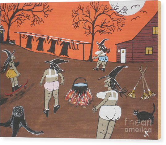 Witches Wash Day Wood Print