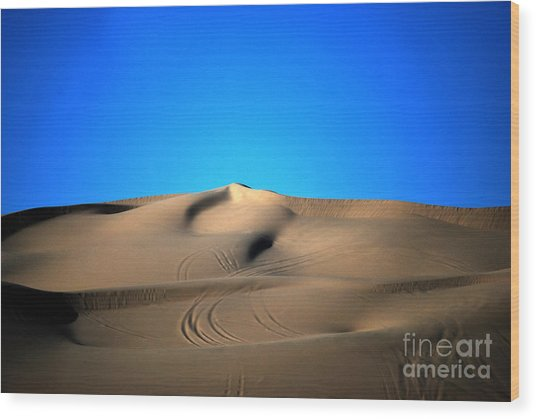 Yuma Dunes Number One Bright Blue And Tan Wood Print