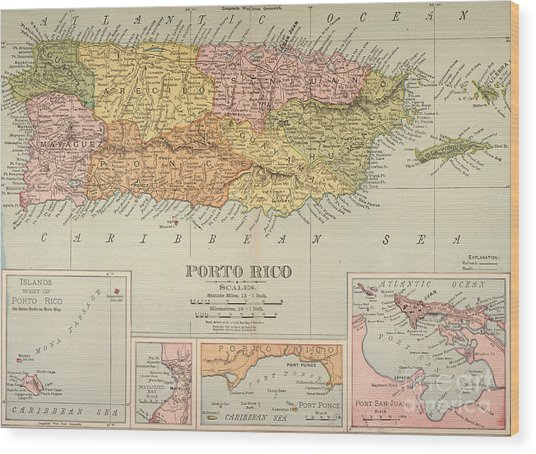 Map: Puerto Rico, 1900 Wood Print