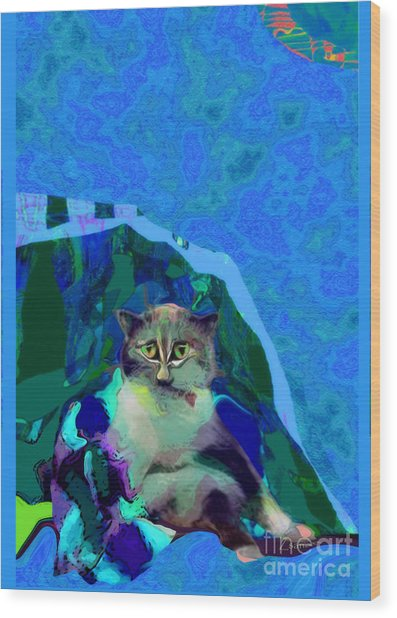 007 The Under Covers Cat Wood Print